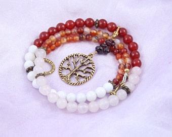 Pregnancy Tracking Necklace - Pick your charm - Fiery Flowers - Red carnelian, rose quartz, snow quartz, agate, garnet