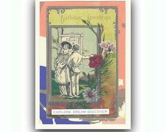 Greeting Card Note Card Blank Birthday Motivational Inspirational Whimsical Handmade Vintage Postcard Stenciled Envelope