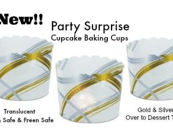 Cupcake Baking Cups Gold Silver Metallic Transluscent Christmas Hanukkah Wedding Anniversary Holiday Dessert Bar Cupcake Baking Serving Cups