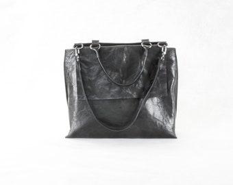 PORTEL  Black top handle bag