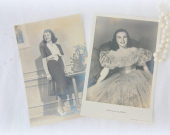 Set of Two Different Vintage Postcards, Sepia Glamour Photo's of Deanna Durbin, Unused