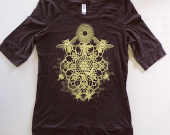 Womens Bee Mandala Printed in Honey Yellow on a Chocolate Bella Sccop Neck 100% Cotton HalfLength Sleeve Shirt