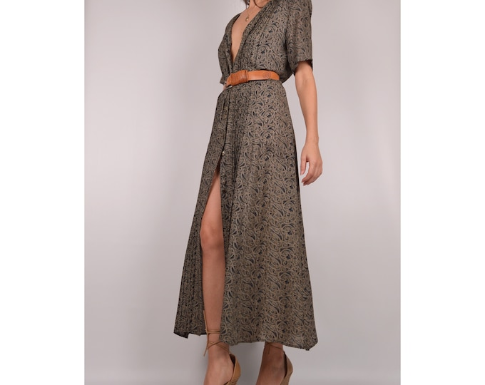 Vintage Filigree Print Maxi Dress / Duster Jacket / S-L