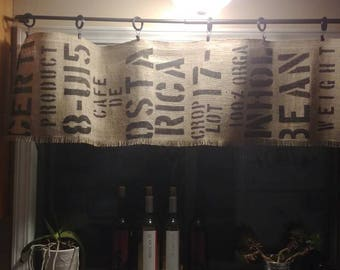 Coffee Bean Sack Burlap Valance