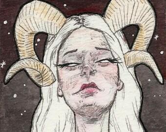 Horned Girl in Sepia -  Art PRINT of original illustration