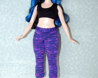 Curvy Barbie Purple stripe exercise yoga pants A4B197 fashionista fashion doll clothes READY TO SHIP rts