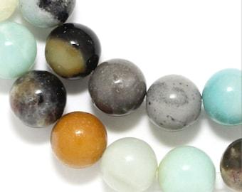 Flower Amazonite Beads - 10mm Round