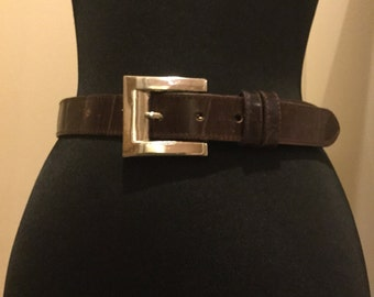 Joan & David Chocolate Brown Croco Embossed Leather Belt Size Small