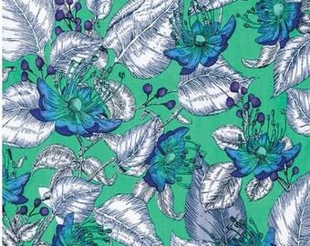 Studio KM fabric Baroque Garden LeJardin KM17 Azure blue green white Freespirit floral home decor craft 100% Cotton Sewing Quilting per yard