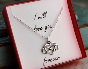Infinity Heart Necklace / Sterling Silver Jewelry / I will love you forever