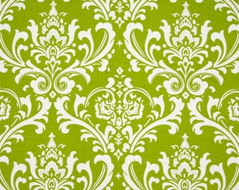 """SALE - Premier Prints Ozborne Chartreuse - Home Decor Weight - 54"""" Wide - 100% Cotton - 1 YARD - Green and White Damask - Large Print"""