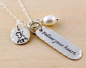 Graduation Necklace - Personalized Graduation Gift - Initial Necklace - Follow Your Heart - High School or College Graduation Gift