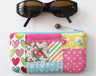 Padded Patchwork Zip Top Pouch | Colorful patchwork zipper pouch for phones, glasses, readers, or sunglasses.