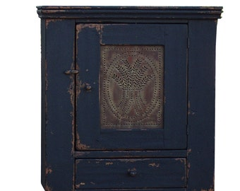 Primitive cabinet pie safe painted country reproduction wall cupboard farmhouse furniture distressed black  hanging cabinet