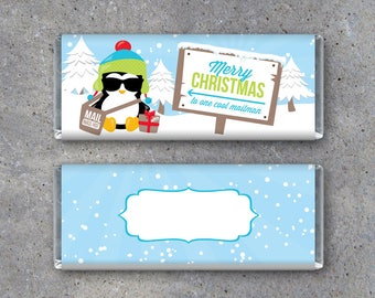 Mailman Merry Christmas Candy Bar Wrapper - Printable Mailman Christmas Gift - Cool Mailman Hershey Bar Wrapper – Christmas Card – Gift Tag