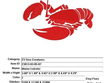 Embroidery Machine File 23013-03-05-07 Maine Lobster