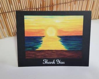 Set of six Thank you greeting cards Hawaiian sunset hand drawn