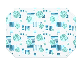 Geometric placemat, circles and lines in turquoise and blue, washable polyester placemats, fabric placemat, table linens, table setting