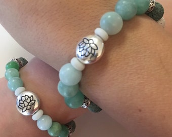 Mamma ed io/Mamma and Me - Matching Green Round Amazonite, Lava Bead and Metal Bead Bracelets with Lotus Flower Charm