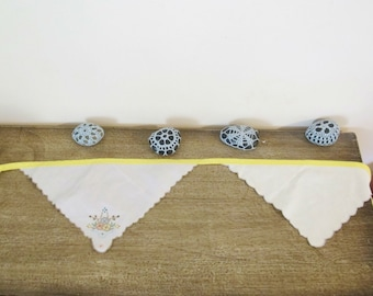 Shabby Chic Decor Bunting - Homewares Banner Wall Hanging - Vintage Yellow Nursery Baby Shower Bridal