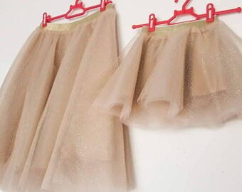 Sparkle Shimmering Matching Tulle Skirts - Mommy and Me Outfits - Mum Daughter Skirts - Glitter Party Tulle Skirts - Family Photo Outfit