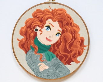 Merida Cross Stitch Pattern, Brave Princess Modern Cross Stitch Pattern, Easy Counted Cross Stitch Chart, PDF Format, Instant Download