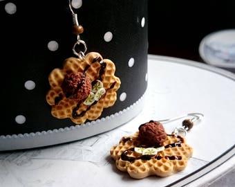 Banana chocolate waffles earrings polymer clay