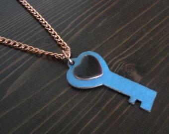 Key necklace Copper Enameled skeleton key necklace / heart key / black blue / copper chain