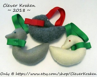 Goose Ornaments, felt Geese holiday decorations, for traditional, old fashioned, or heirloom style holidays
