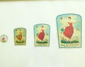 Rimmel Perfume Label Lavender Water & Eau de Verveine Perfume Etiquettes Labels C1925, 4 Original Antique Labels