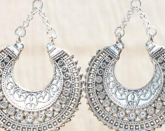 Dark Silver Boho Earrings Bohemian Earrings Boho Jewelry Chic Gypsy Ethnic Silver Earrings Bohemian Jewelry Gift for women Gift For Her