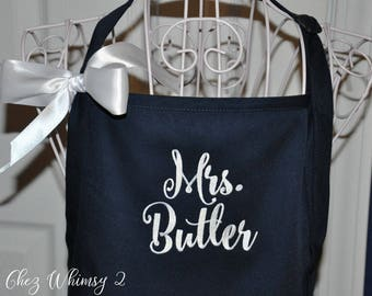 Mrs. Apron, Personalized Apron, Monogrammed Apron, Bridal Shower Gift, Couples Aprons, Chef Apron, Apron with Bow