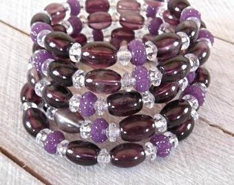 Purple Memory Wire Bracelet, Purple Beaded Wire Bracelet, Purple Bangle Bracelet, Purple Wrap Bracelet, Purple Stacked Bracelet Cuff