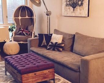 Upholstered Storage Ottoman, Linen Ottoman, Reclaimed Oak Ottoman, Coffee  Table Ottoman, Rustic