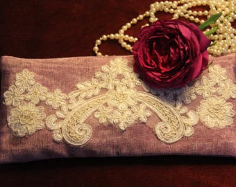 Silk Lavender Eye Pillow with Laces