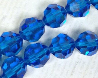 Swarovski Crystal Faceted Rounds 6mm - Capri Blue - Article 5000 12 pieces
