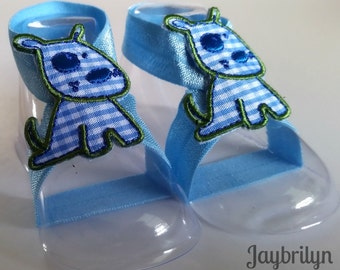 Cute Baby Barefoot Sandals - Baby Barefoot Sandals - Cute Doggie on Barefoot Sandals for Baby - Newborn Baby Gift - Ready to Ship