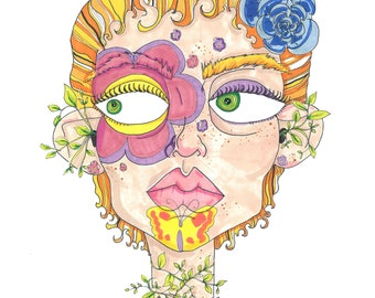 Flower Girl A4 Art Print / hand drawn illustration done using promarkers then digitized and professionally printed