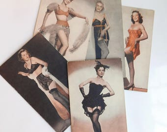 Lot of 5 Vintage 1940s Naughty Semi-Nude Photos - Burlesque Showgirls - Pretty Models in Lingerie - Colorized Postcards - Boudoir Pictures