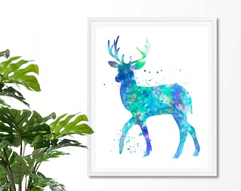 Deer #3  Watercolor Fine  Art Print, Poster, Wall Art, Home Decor, Kids Wall Art, Play Room Wall Art, Nursery Wall Art, Archival print