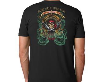 Sand.Salt.Surf.Sun. Pirate Octopus Cotton Crew Short Sleeve Shirt