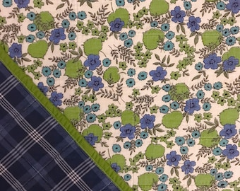 Vintage 1930's Feedsack Whole Cloth Baby Quilt