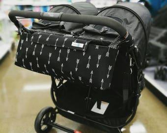 Pram caddy for DOUBLE PRAM / pram organiser / stroller bag for side-by-side twin pram