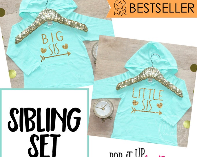 Big Sister Little Sister Set / Baby Announcement Gift Baby Girl Clothes Big Sister Shirt Set Matching Sister Outfit Baby Hoodie 005
