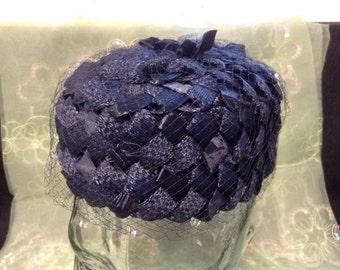 Vintage Ladies' Navy Blue Straw Hat with Veiling