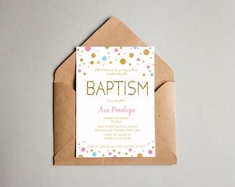 Pink Yellow Baptism Christening Girl Baby Invitation