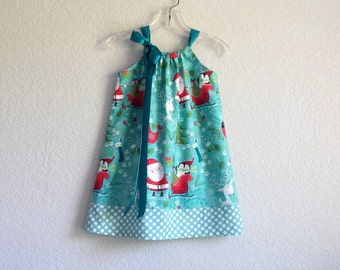 Girls Aqua Christmas Dress - Santa Claus and Reindeer Pillowcase Dress - Aqua Dress with Red Teal and White -  Sizes 12m through Size 6