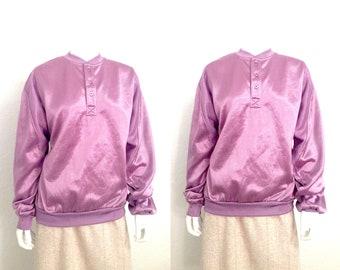 Vintage Sweater / Retro Sweater / Purple Sweater / 80s Sweater / 1980s Sweater / Mens Sweater / Womens Sweater / Large Sweater Shiny Metalic