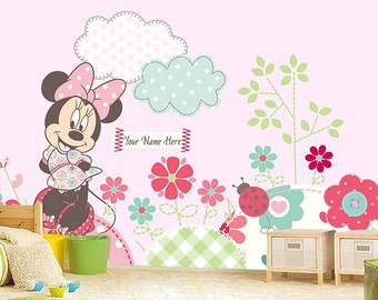 Minnie Mouse Wall Mural Wallpaper Decor Decal Nursery And Room Art