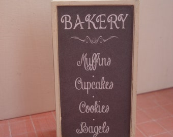 Dollshouse miniature blackboard,  miniature bakery menu, one inch 1:12 scale, dollshouse chalkboard, miniature sign